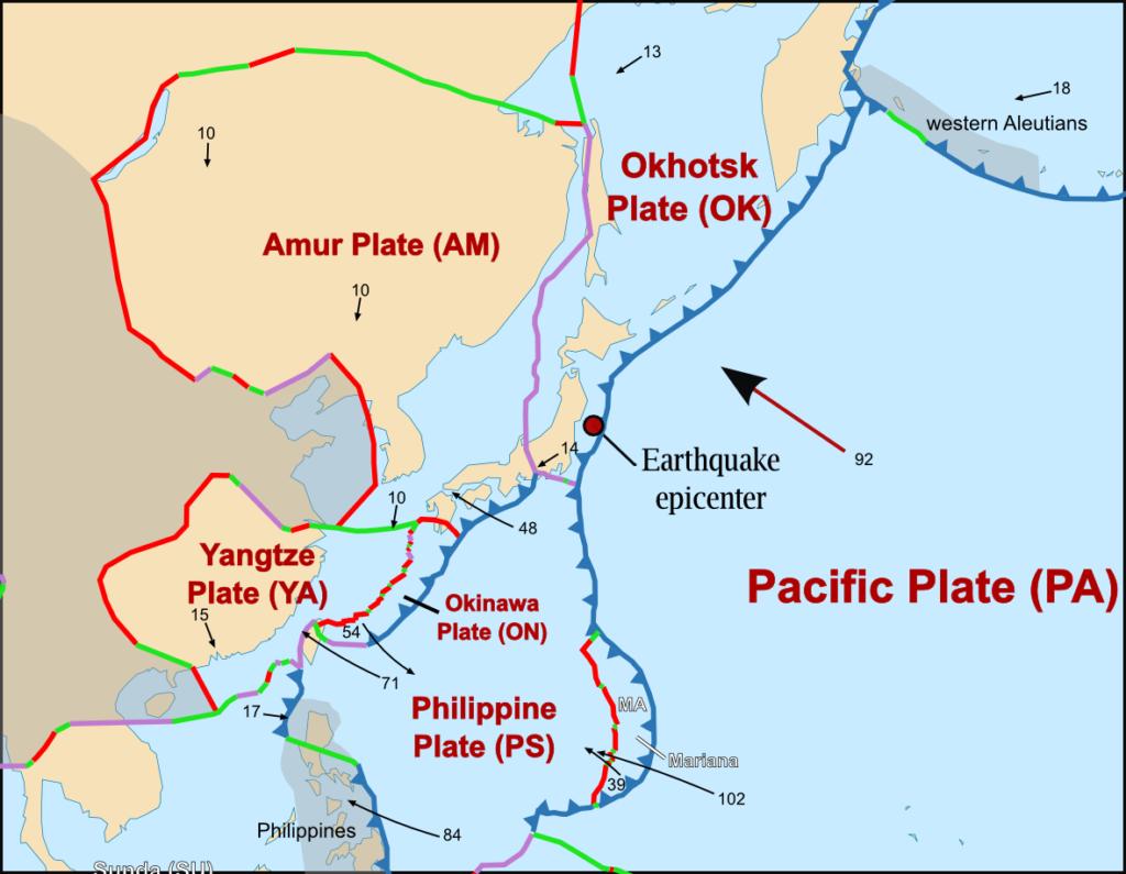 Japonya deprem bölgesi haritası